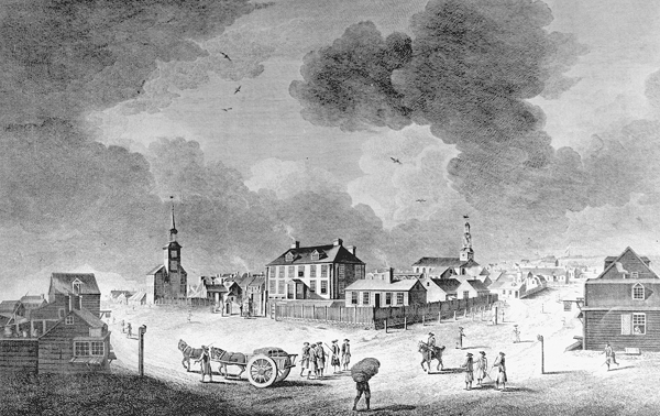 """The Governor's-House and St. Mather's Meeting House in Holles [sic] Street looking up George Street shews Part of the Parade and Citadel Hill at Halifax in Nova-Scotia"", 1759"