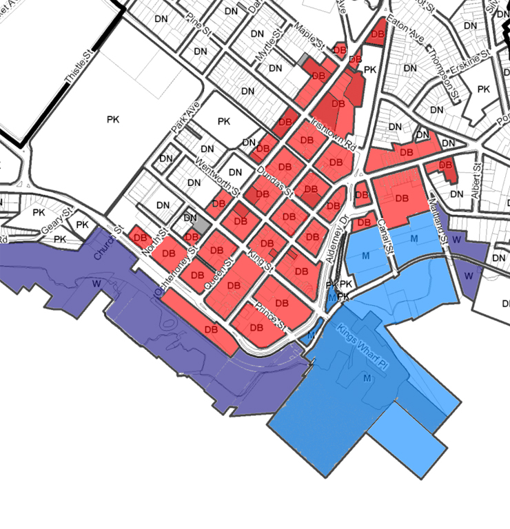 "Zoning in Downtown Dartmouth. DB (Red) is ""Downtown Business"", W (Purple) is Waterfront and M (Blue) is Marine Business."