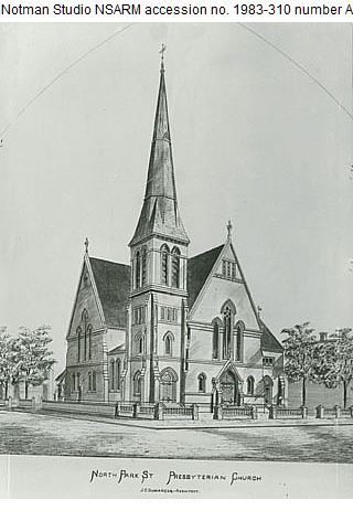 Park Street Presbyterian, ca. 1883, Dumaresque drawings (Nova Scotia Archives)