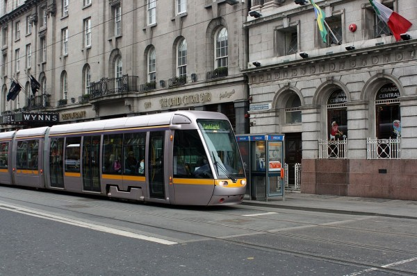 Dublin's Luas light rail runs on-street but in dedicated lanes.