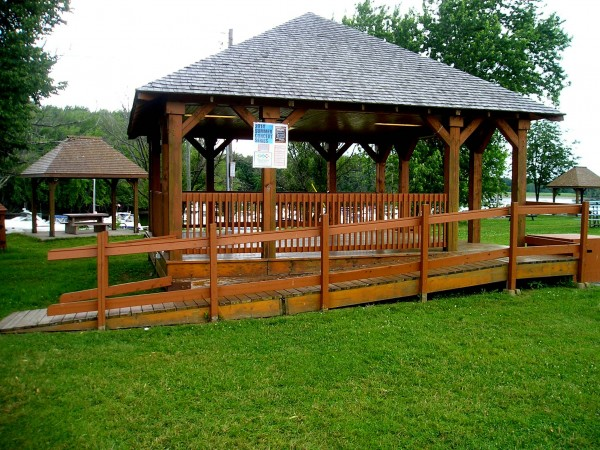 Pavilion and picnic tables along Oromocto's waterfront.