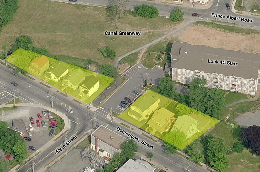 Potential development sites on Ochterloney that back onto the Greenway? Houses being used for commercial purposes. Photo Bing