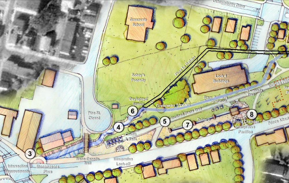 A third option? Retain part of the existing pipe (black) and daylight a smaller stream (blue) through the Greenway. Photo mocked up from Ekistics Plan