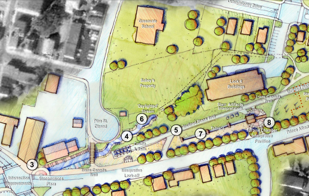 Current 2006 Canal Greenway Plan showing a daylighted Sawmill River at the Greenway's lower end. Photo Ekistics