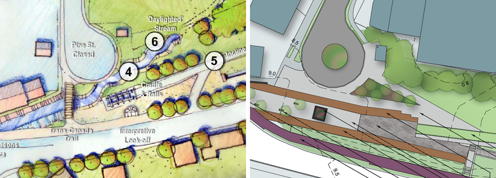 Daylighted waterway in the lower half of the Greenway and tailrace in 2006 plan. Multi-use trail (purple), benches, and decorative paving (grey) to denote historic waterway in 2014 plan.