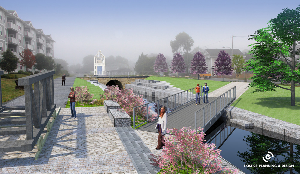Image prepared by Ekistics and presented to Council by Canal Commission in 2011 showing an evolving concept that is still consistent with established vision. Water in the tailrace, multi-use trail and replica boat cradle. Rebuilt powerhouse in distance.