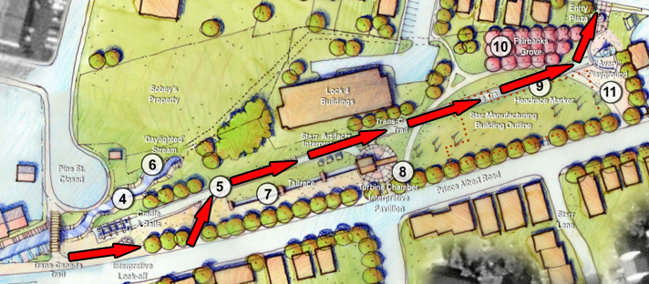Trail in the original 2006 plan passing through the site (red arrows added for emphasis)