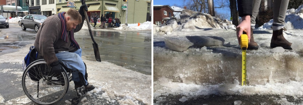 Sidewalk Conditions. Photos Jacob Smith and Anjuli Patil CBC