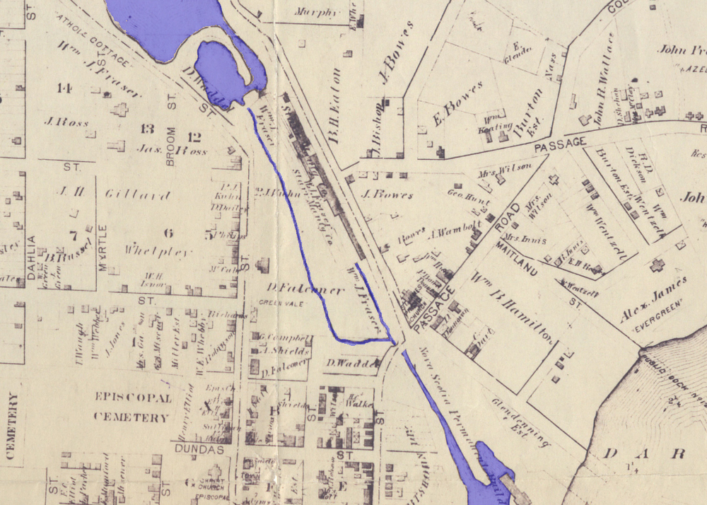 1878 Hopkins Map of Dartmouth showing water flowing from Sullivan's Pond to the Harbour (blue added for emphasis)