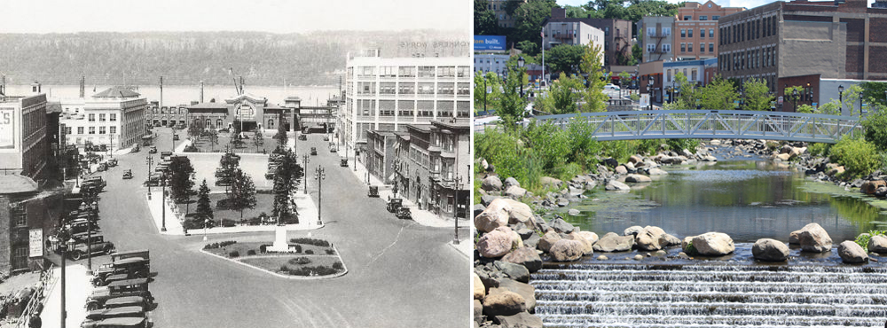 Before and after in Yonkers, New York. The pipe was retained to handle storms, allowing a portion of the Saw Mill River to be diverted to the surface.