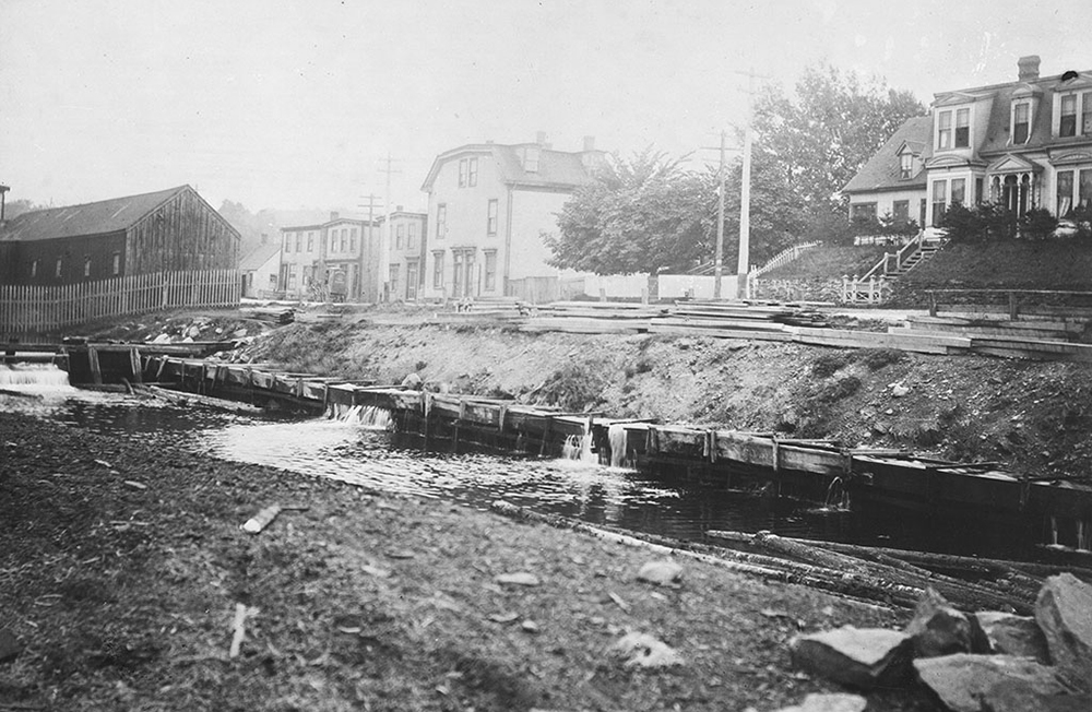 The Sawmill River around the turn of the century where Irishtown Road is today below the old Starr Plant. Source Dartmouth Heritage Museum