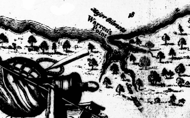 "Harris Map 1750. ""Saw Mill R."" label bottom right on what would become Dartmouth."