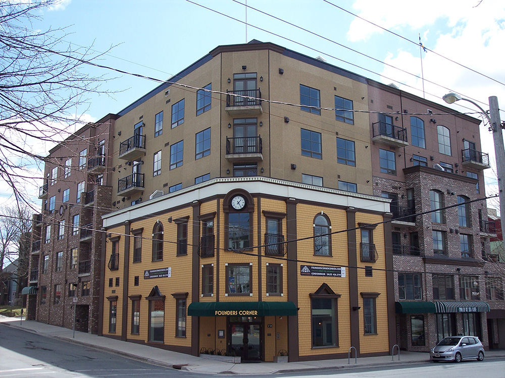 Founders Corner in Downtown Dartmouth is another example of a modern building that tries to be sensitive to its Downtown surroundings.