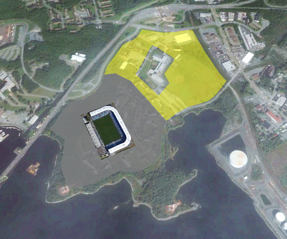 Shannon Park Mock-up using Saputo Stadium. Grey shaded area is the estimated area needed for surface parking for 3,075 vehicles. Yellow is the land leftover for other development. Photo Google Earth