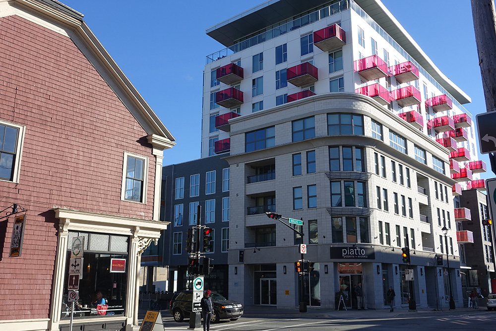 The Vic at the corner of Hollis and Morris Streets in Halifax. A sensitive design that reasonably fits into its surroundings while also bringing new business and residents to the area.