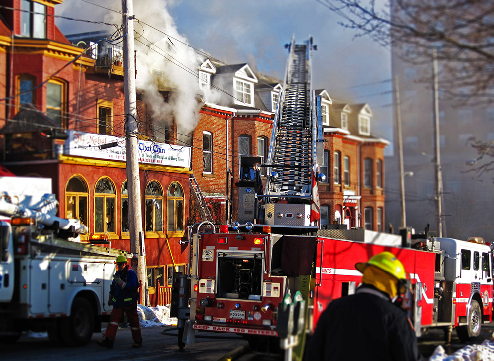 January 2010 fire on South Street in Halifax. Photo: Derek Midwinter