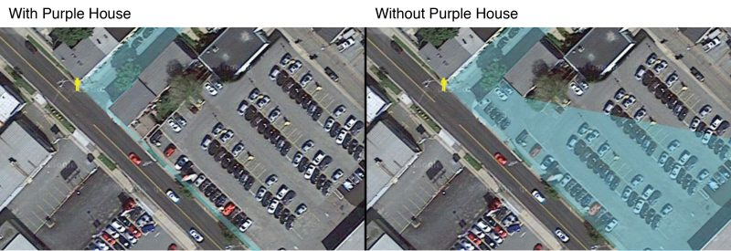 Viewshed with and without Colonial Honda Demolition of Purple house.