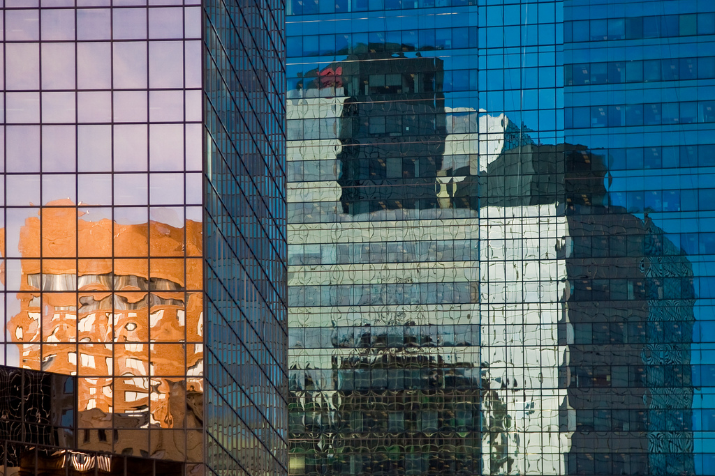Glass skyscrapers reflect one another in downtown Edmonton. © Tom Young 2009