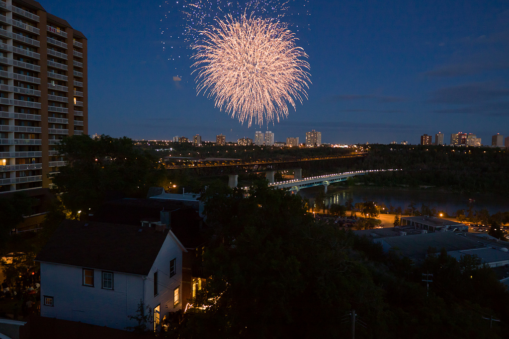 Edmonton's Canada Day fireworks light up the sky over the North Saskatchewan river valley. © Tom Young 2011