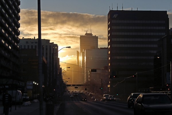 Sunrise on downtown and Jasper Avenue, Edmonton's main street.