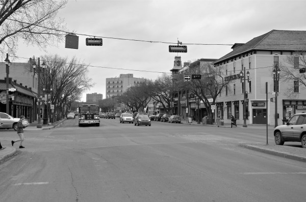 2013- Whyte Avenue with the Strathcona hotel in foreground.