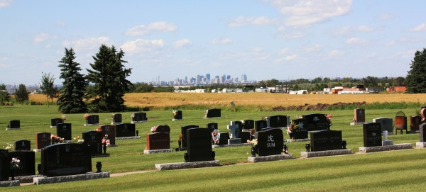 View of Downtown Edmonton from South Haven Cemetery