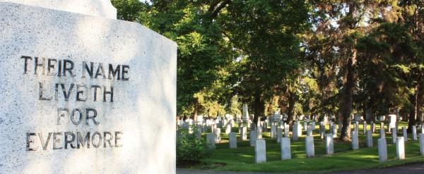 Cross of Sacrifice inscription at Edmonton Cemetery