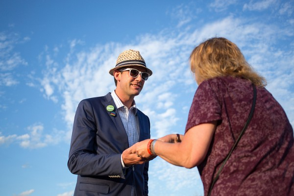 Meeting citizens at the Edmonton Folk Music Festival in Gallagher Park.