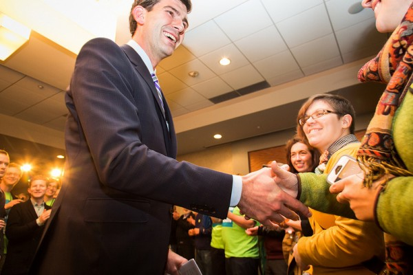 Greeting supporters at the Get Out the Vote Rally the week before the election.
