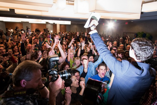 The crowd goes wild as Don mounts the stage prior to his victory speech.