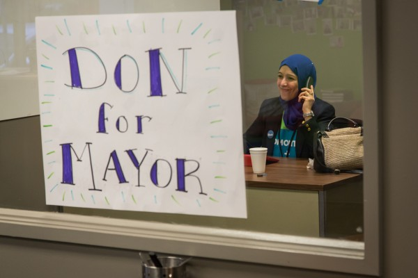 A volunteer on the phones at HQ.