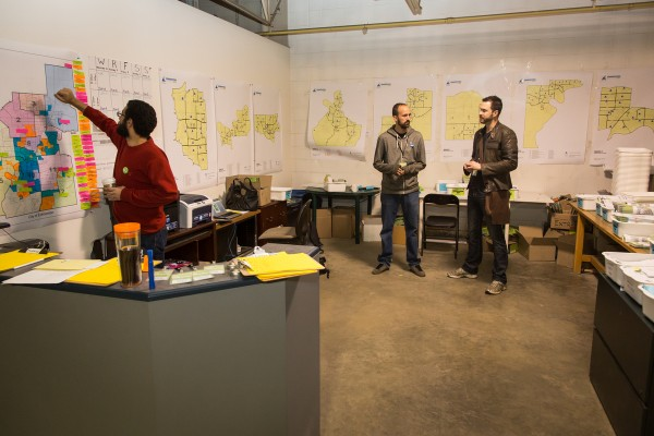 The Map Room at HQ, where flyering and door knocking routes were planned and distributed.