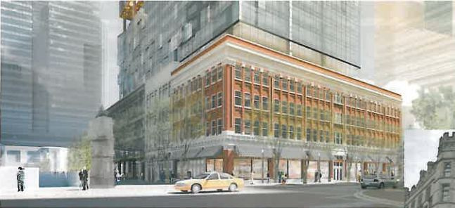Rendering of the Kelly-Ramsay redevelopment podium, featuring a reassembled historic facade. Image via skyscraperpage.com.