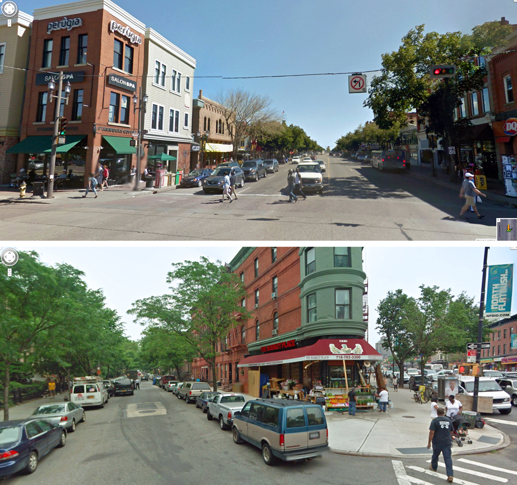 Google Streetviews of Edmonton's Whyte Avenue (top) and Brooklyn's Flatbush Avenue (bottom), both featuring interesting streets capes and plenty of people you don't need to squint to make out.