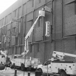 Construction of the 104 street outdoor neon sign museum. Photo credit to Scarlett Eyben.