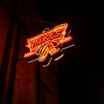 The Mike's News sign, part of Edmonton's new Neon Sign Museum on 104 Street. Photo by Tom Young