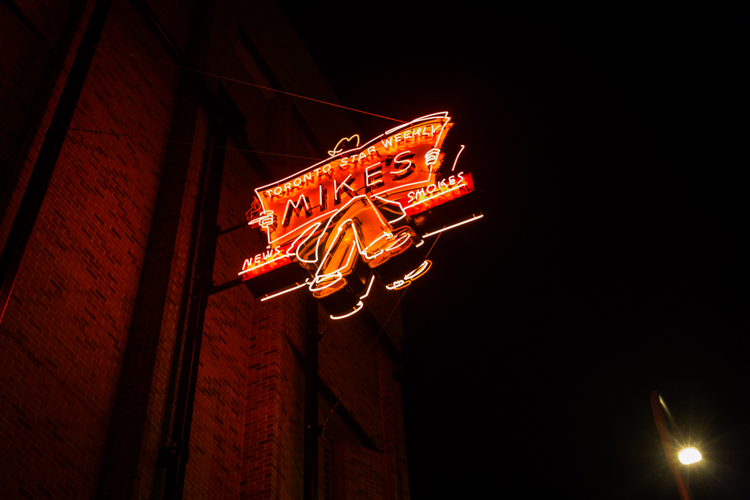 The Mike's News sign, which adorned 10062 Jasper Avenue from 1934 until 1979.