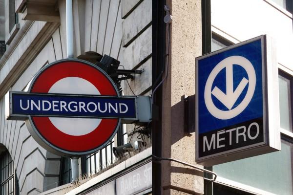 London Underground and Montréal Métro signage. Photo credit Cindy Andrie, 2006; Matthieu Tremblay, 2007.