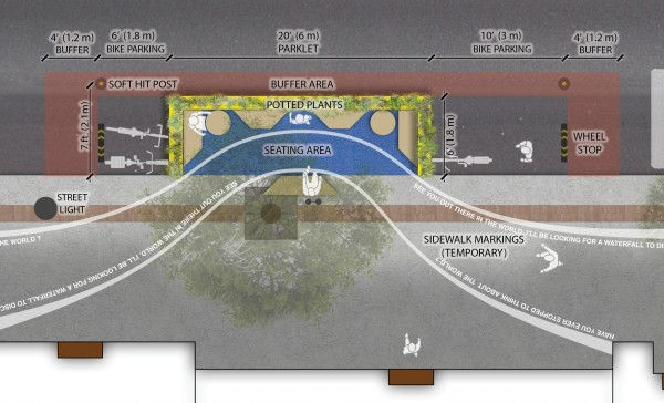 Rendering of Isaak Kornelsen Memorial Parklet. Image via Jonathan Behnke.
