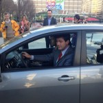 Mayor Don Iveson pulls away in the first official test drive of the Pogo carshare. Photo by Ryan Tumilty – Metro Edmonton.