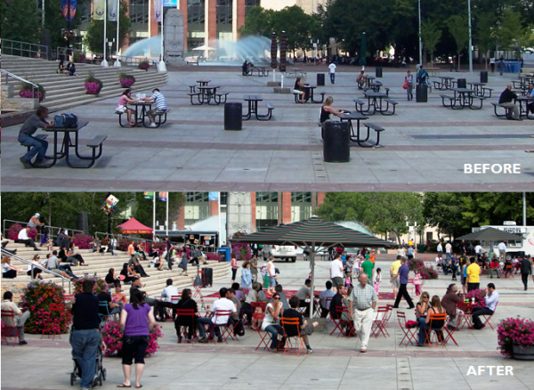 Churchill Square before and after park furniture was changed. Sources: Wikipedia, City of Edmonton.