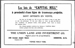 An ad for Capital Hill highlighting the neighbourhood's proximity to the tramway. Le courrier de l'ouest, September 8, 1910.