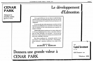 An ad that emphasizes the close proximity to Canadian Northern Railway's factories. Le courrier de l'ouest, January 11, 1912.