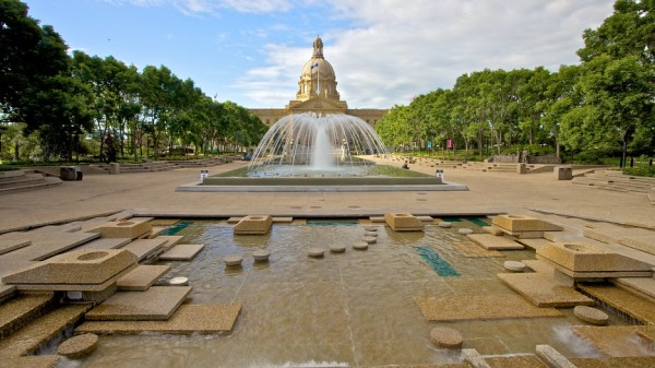 Late-brutalist inspired landscaping for the Alberta Legislature wading pools