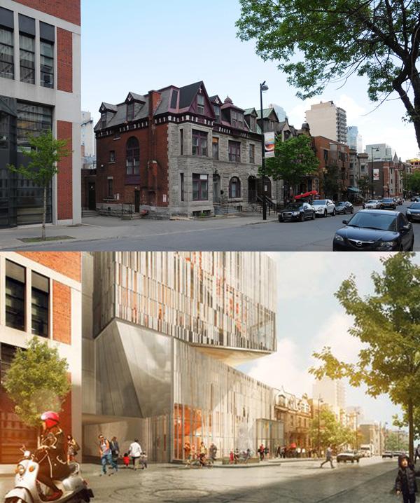 Montage du jour futur site du mus e des beaux arts rue bishop spacing montreal - Rue des beaux arts ...