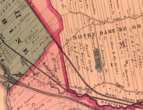 Extrait du plan Atlas of the city of island of Montreal de H. Hopkins, 1879, Bibliothèque et archives nationales du Québec