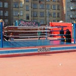 A wrestling ring in the Super Kilen.