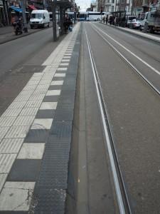 A tram stop made of modular pieces.