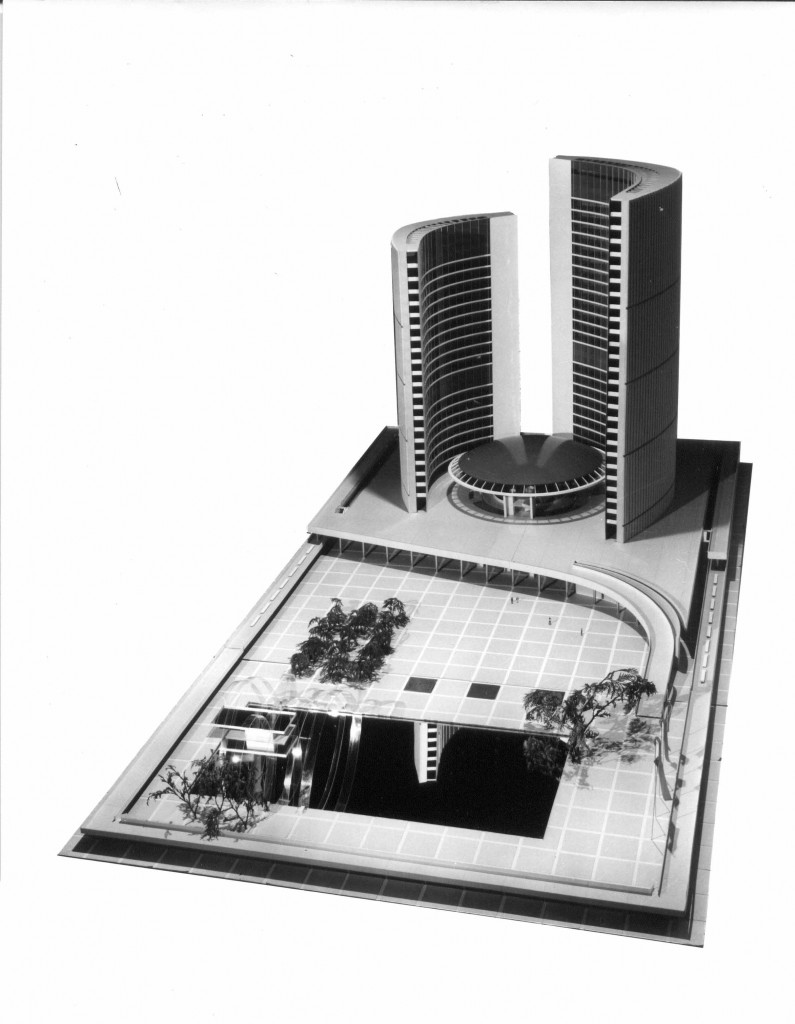 A model of City hall and Nathan Phillips Square.