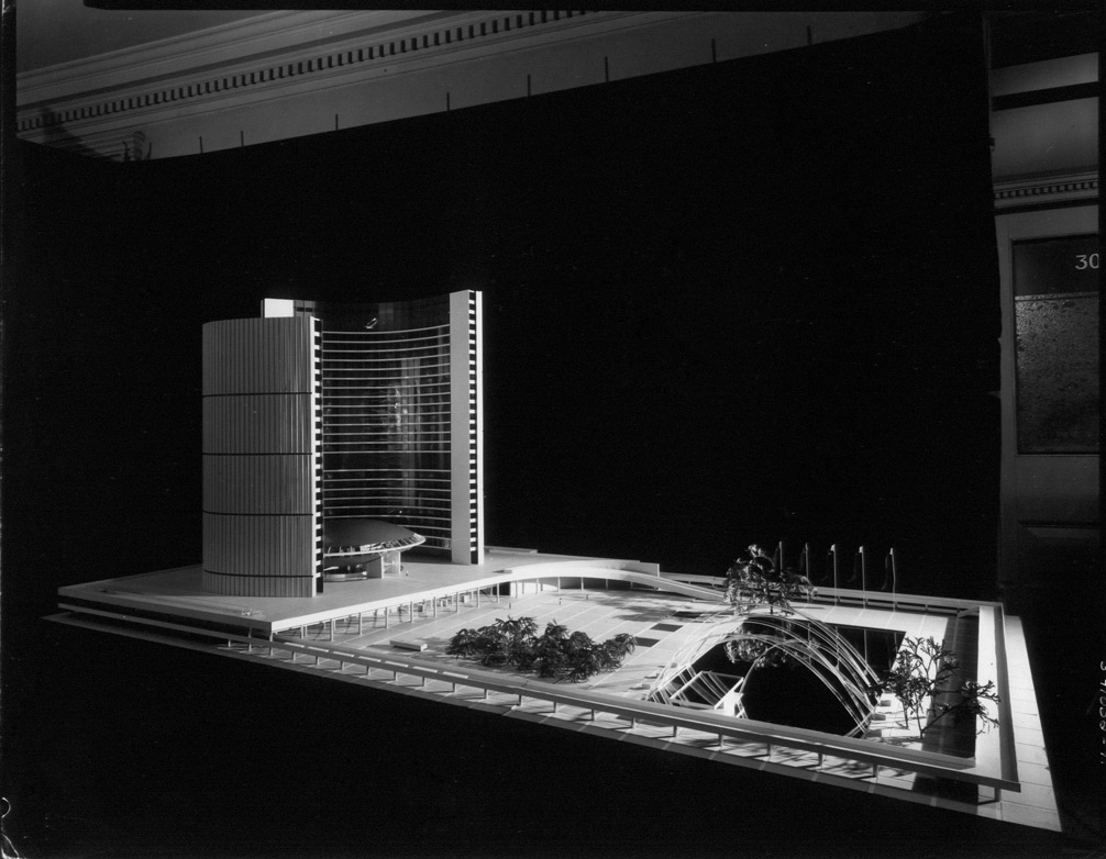 Side view of City Hall model.